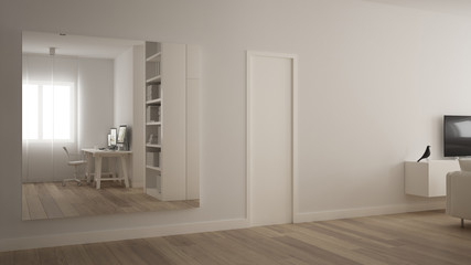 Big square mirror in minimalistic white one bedroom apartment with parquet floor, reflecting home workplace, white table with computer desktop, modern interior design