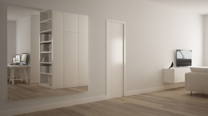 Big square mirror in minimalistic white one bedroom apartment with parquet floor, reflecting home living room, white table with computer desktop, modern interior design