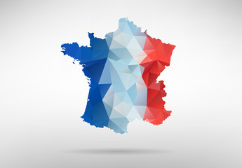 France map with national flag