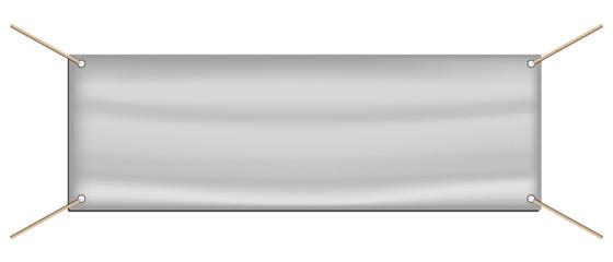 Tarpaulin Advertising Banner - White Editable Vector Illustration - Isolated On White Background