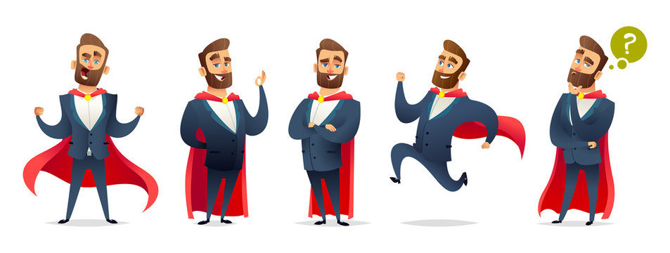 Businessman in a superhero costume. Character collection of business hero in various poses. Super manager set