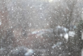 Snow in the city. New snowfall with big snowflakes in the city. Winter snow. Snowflake background texture. Winter wallpaper. Blizzard in midtown. Blurred winter background.