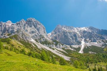 View closeup Alpine rocks in National park Dachstein, Austria, Europe