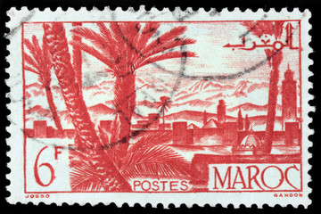 Marrakesh cityscape stamp