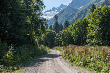 View forest scenes in national park Dombai, Caucasus, Russia, Europe