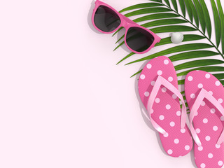 3d render of vacation stuff over pastel pink background