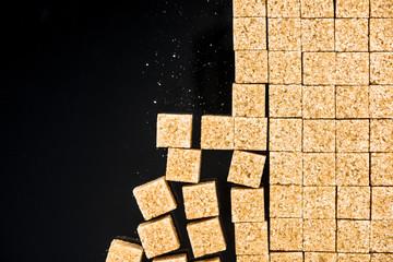 Cane sugar cubes, border background