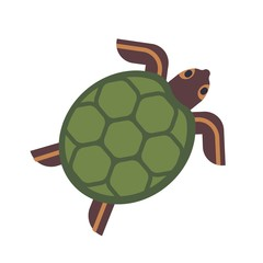 Sea turtle, tortoise or terrapin isolated on white background. Gorgeous adorable exotic animal. Cute lovely wild aquatic or semiaquatic reptile. Colorful vector illustration in flat cartoon style.