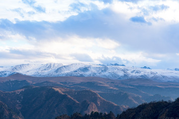 mountains in clouds. the cloud between the peaks of the mountains. Caucasian mountain area. panoramic view