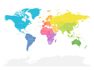 Wall Mural - Colorful map of World doivided into regions. Simple flat vector illustration
