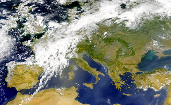 Satellite view of the Mediterranean sea and south of Europe. Italy, Spain,Portugal, Greece, Turkey, Tunicia, Algeria,Serbia, RumanÃa and Balkans .Elements of this image furnished by NASA.