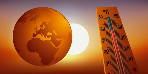 Concept du réchauffement climatique et de la destruction de l'environnement avec comme symbole, un thermomètre montrant l'augmentation de la température.