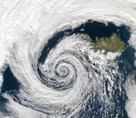 Fotobehang Noord Europa Satellite View a storm over Iceland. Elements of this image furnished by Nasa.