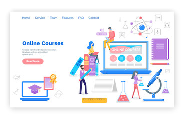 Online courses people learning subjects in internet vector. Students with certificate, busy reading and reviewing material for exams. Microscope and book. Website webpage template landing page in flat