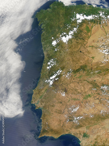 Satellite Map Of Spain.Satellite View Of The Portugal And Spain Elements Of This Image