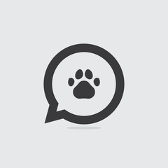 Paw Print Speech Bubble Icon