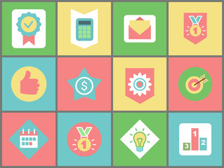 Work and business icons vector. Stamp and calculator, message and medal, thumb up and dollar sign, cogwheel and target, calendar and light bulb, pedestal