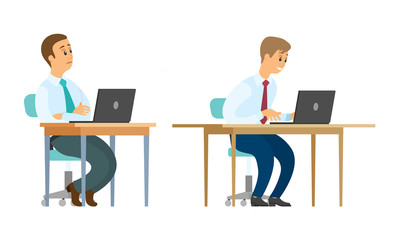 Worker sitting by tables vector, office employees with laptops. Male teamwork, collaboration between coworkers, developers and optimizing website