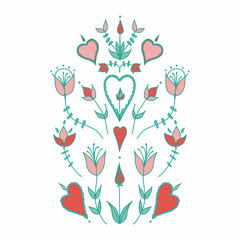 stylized flowers. hearts and flowers. stylization of natural motive.  Oranment in folk style. folk motif.