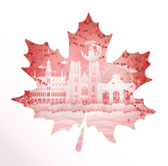 Fototapete - Autumn in Brussels, Belgium with maple leaf style in season concept for travel postcard, poster, tour advertising of world famous landmarks in paper cut style. Vector illustration.