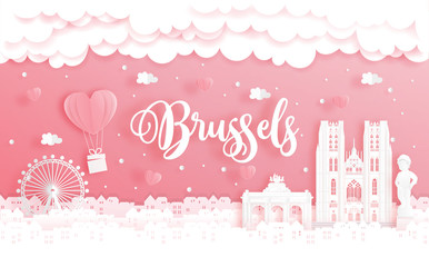 Fototapete - Honeymoon trip and Valentine's day concept with travel to Brussels, Belgium and world famous landmark in paper cut style vector illustration.