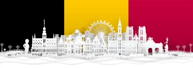 Fototapete - Belgium flag and famous landmarks in paper cut style vector illustration.