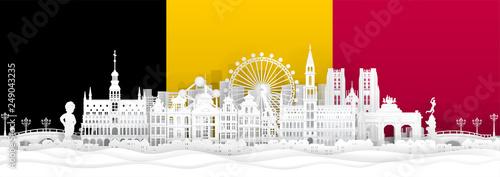 Fototapete Belgium flag and famous landmarks in paper cut style vector illustration.