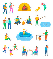 Travel, camping and tourists, outdoor activity vector. Tent and map, boy with dog, backpackers and fishing, boat and campfire, children with ball, lunch