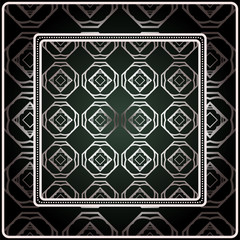 Background, Geometric Pattern With Ornate Lace Frame. Illustration. For Scarf Print, Fabric, Covers, Scrapbooking, Bandana, Pareo, Shawl. Silver. dark grey, green color color