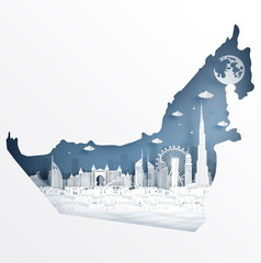 Wall Mural - Dubai map concept with famous landmark for travel postcard and poster, brochure, advertising in paper cut style vector illustration.