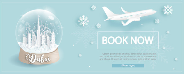 Fototapete - Flight and ticket advertising template with travel to Dubai with winter deal with famous landmarks in paper cut style vector illustration
