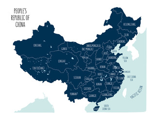 Blue vector map of the People's Republic of China.
