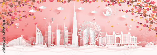 Fototapete Autumn in Dubai with falling maple leaves and world famous landmarks in paper cut style vector illustration