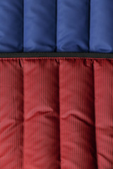blue and red striped fabric