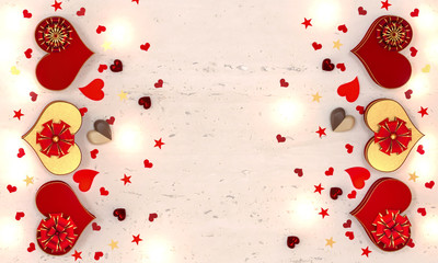 3d rendering. Composition figure volumetric brilliant heart, red, gold, Valentine's Day or wedding day romantic themes for party, events, heart shaped box, gift. Glowing garlands, bulbs, illumination.