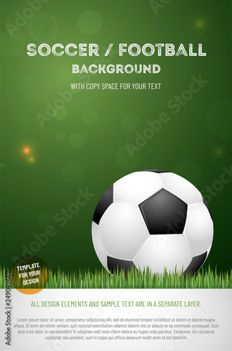 Template For Your Soccer Football Poster With Ball Fichier