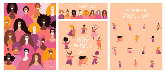Poster Illustrations Set of womens day cards with diverse women and lettering quotes. Hand drawn vector illustration. Flat style design. Concept, element for feminism, girl power, poster, banner, background.