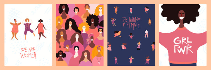 Spoed Fotobehang Illustraties Set of womens day cards with diverse women and lettering quotes. Hand drawn vector illustration. Flat style design. Concept, element for feminism, girl power, poster, banner, background.