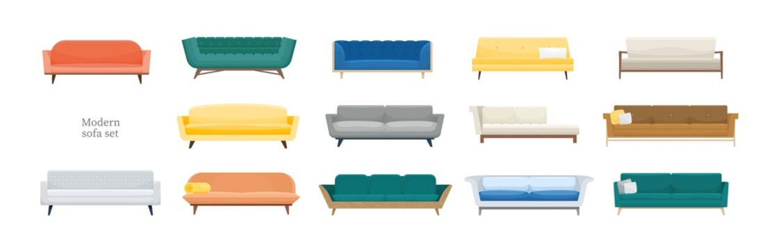Collection of comfy modern sofas isolated on white background. Bundle of stylish comfortable couches of various types. Set of cozy furniture. Colorful vector illustration in flat cartoon style.