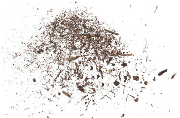Soil, dirt pile isolated on white background, top view