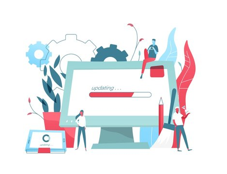 Composition with giant computer display and tablet PC with progress bar on screen and tiny people. System update or upgrade download and installation, software maintenance. Flat vector illustration.