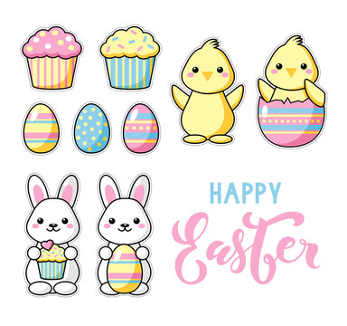 Set of cute kawaii Easter cartoon characters with lettering. Easter sweets, eggs, bunny and chick. Beautiful Kawaii vector illustration for greeting card/poster/sticker. Happy Easter lettering.