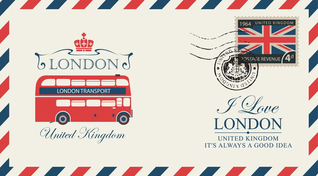 Vector postcard or envelope with the London double decker and inscriptions. Retro postcard with postmark in form of royal coat of arms and postage stamp with flag of United Kingdom