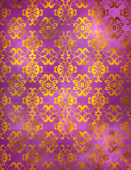 Abstract hand-drawn textured background of bright lilac, violet color, with waves divorces, curls.