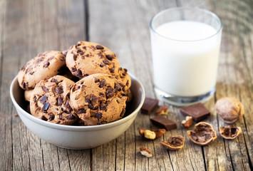 Chocolate chip cookies, sweet snack dessert with milk