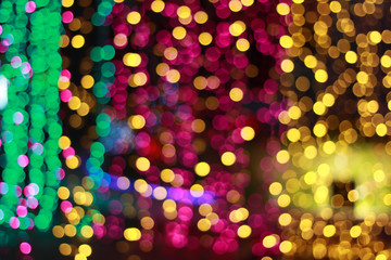 Blurred of colorful bokeh night light abstract background