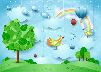 Obraz Surreal landscape with big tree, balloons, birds and flying fisches - fototapety do salonu