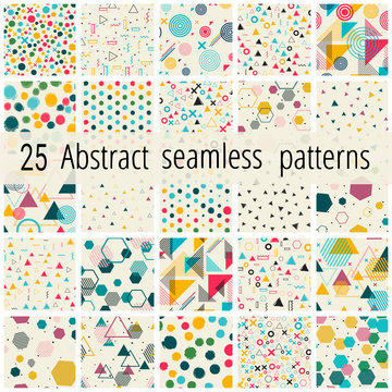 Set of Abstract seamless geometric patterns