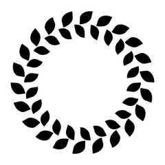 Wreath ring of black leafs. Simple flat vector illustration