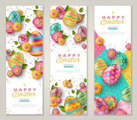 Easter banners with colorful eggs